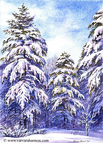 Snow Pine Trees, Original Seascape watercolor painting by Varvara Harmon