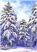 Snow Pine Trees, Original Landscape watercolor painting by Varvara Harmon