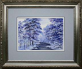 Winter Brook, Original Seascape watercolor painting by Varvara Harmon
