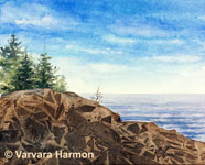 Coastal Rocks, Original Seascape Watercolor painting by Varvara Harmon