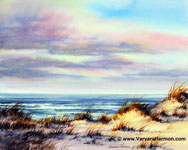 Ocean Dunes, Original Seascape watercolor painting by Varvara Harmon