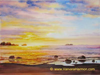 Ocean Sunset - 1, Original Seascape watercolor painting by Varvara Harmon
