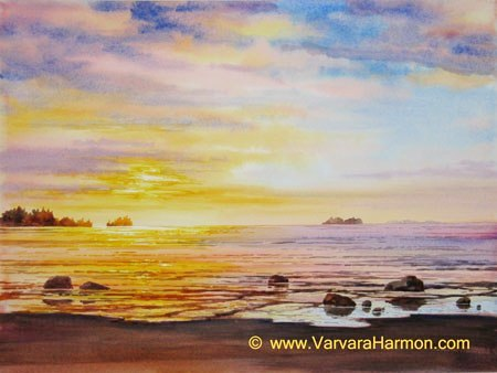 Ocean Sunset - 1, Original watercolor painting by Varvara Harmon