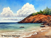 Sand Beach, Acadia, Original Seascape watercolor painting by Varvara Harmon