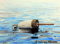 White Buoy, Original Seascape Watercolor painting by Varvara Harmon