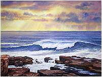 Acadia Storm Surge, Original Seascape watercolor painting by Varvara Harmon