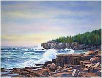 Acadia, Original Seascape watercolor painting by Varvara Harmon