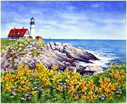 Portland Head Light, Original Seascape watercolor painting by Varvara Harmon