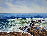 Windy Day on the Ocean, Original Seascape watercolor painting by Varvara Harmon